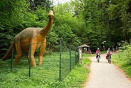 [Translate to Niederländisch:] Radfahrer bei den Saurierspuren im UNESCO Global Geopark in Bad Essen Barkhausen